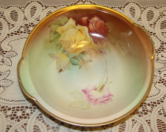 "Sevres Antique Rose design Handpainted 10"" Bowl Thomas Sevres Bavaria"