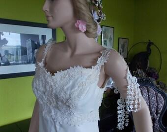 1970s vintage Wedding dress Handmade restyled to Hippie chic wedding gown