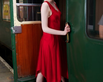 1920's Vintage Silk bias cut dress. Downton Abbey, Great Gatsby style.  Valentine Red