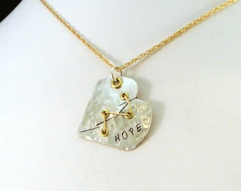 CHD Awareness Necklace / Sutured Heart Mixed Metal Necklace / Sterling Silver Heart Necklace / Mended Heart Necklace / Broken Heart Necklace