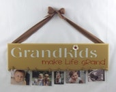 Grandkids wooden sign to hang pictures on