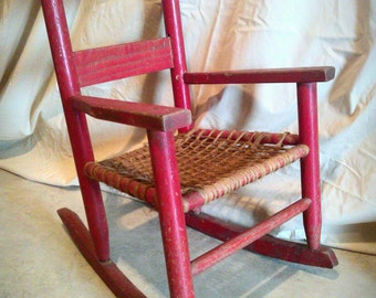 Vintage Oak Childs Rocker Childs Chippy Red Paint Rocker Red Rocking Chair