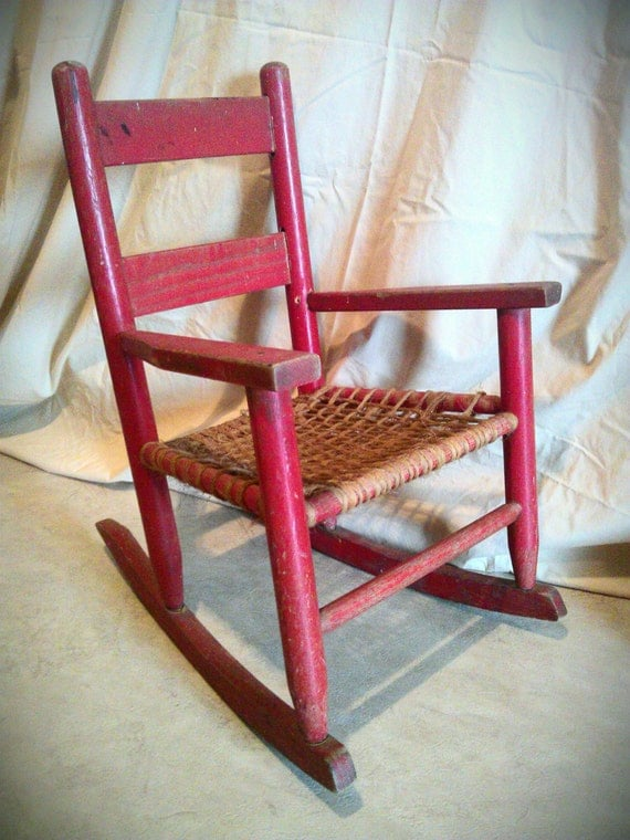 Child Red Rocking Chair ~ Items similar to vintage oak childs rocker chippy