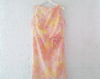 1960s Pink Multicolor Day Dress 60s Vintage Cotton Ombre Rainbow Watercolor Orange Yellow Sundress Pencil Skirt Medium Summer Sheath Dress