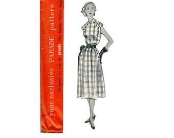 Parade Pattern No. 101 Size 14 Summer dress 1950s Vintage Sewing Pattern shoulder and hip button v neck  bust darts belt option has pockets
