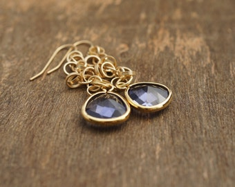 LONG Purple Earrings, Mothers Day Gift Ideas, Amethyst Color Earrings, Purple and Gold, Jewelry by Cheydrea