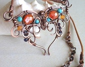 RESERVED LISTING! 2nd payment - Handmade wire wrapped Butterfly Copper necklace Carnelian Turquoise Iolite women leather jewelry