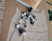 Heart Bookmark Beaded Book Thong Black Pearl Silver Filigree Valentines Day