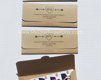 Photobooth Photo-Strip Envelopes Vintage Wedding or Woodsy wedding theme photo booth party favor