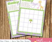 Baby Giraffe / Jungle Theme Baby Shower Bingo Card - Baby Shower Game - DIY Printable - Boy, Girl, Gender Neutral - Pick Your Colors