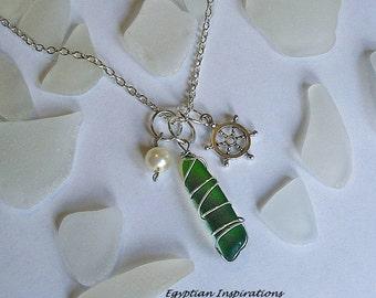 Sea glass necklace. Sea glass jewelry.  Wire wrapped beach glass necklace.