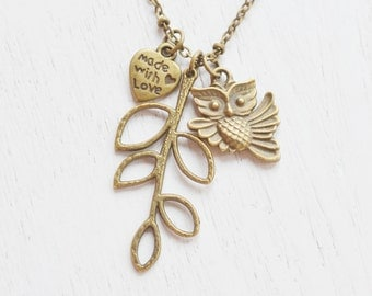 owl necklace,leaf necklace,bridesmaid jewelry,branch necklace,bird jewelry,owl charm,whimsical,owl tree necklace,skeleton leaf,nature jewel