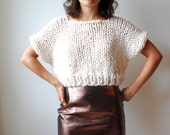 The SOHO Crop Top Sweater Hand Knit in Fisherman Wool Blend