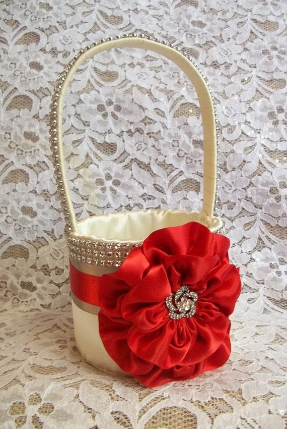 Red, Gray & Ivory Flower Girl Basket with Rhinestone Mesh handle and Trim, Lots of Bling, Custom Made to Order