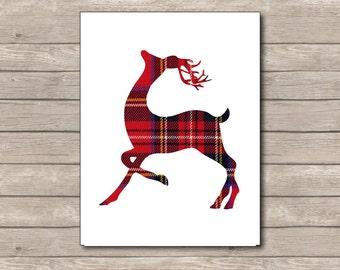 Plaid Christmas Printable, Christmas Art Print, Red Deer, Reindeer Art 2