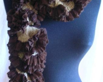 Crochet PATTERN for a ruffled scarf.  Original design. The Crunchy Chocolate Crisps Scarf: PATTERN (.pdf)