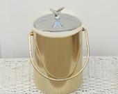 Barware: Ice Bucket, Mid Century, Gold Spun Aluminum, Chrome Lid - SentimentalFavorites