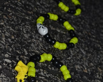 Electric Shock Yellow and Black 3 Pony bead Bracelets
