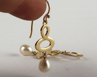 Pearl gold earrings, 14k gold pearl earrings, solid gold dangle earring, white bridal jewelry, June birthstone earrings