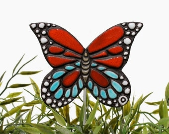 butterfly garden art - plant stake - garden decor - butterfly ornament  - ceramic butterfly - monarch - red - turquoise