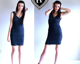 sale vtg 80s sparkly GUNMETAL GRAY mini Bandage DRESS Small club kid bodycon grunge open back