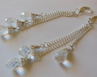 Transparent water drops chandelier earrings E462