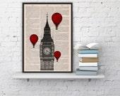 London Big Ben Tower Balloon Ride Print on Vintage Book art,vintage book print  BPTV09b