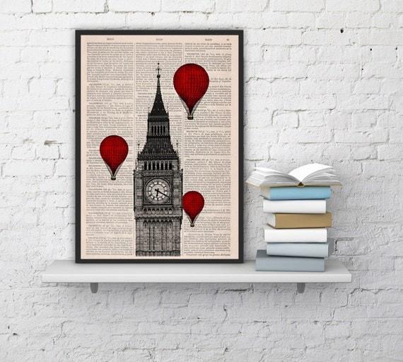Spring Sale London Big Ben Tower Balloon Ride Print on Vintage Book art,vintage book print  BPTV09b