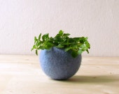 Free Shipping - Felt succulent planter / felted bowl / Succulent pod / light blue / mother day gift