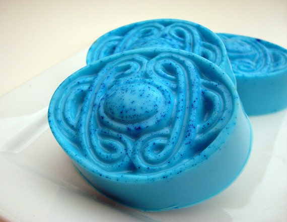 Bay Rum Soap, Bright Blue Soap, Unisex Soap, Caribbean Soap, Celtic Knot Oval Soap, Hoooked Soap, Homemade Soap, Bar Soap