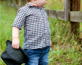Summer shirt for Boys - 12 months to 6 years - pdf Pattern and Instructions FREE Shipping