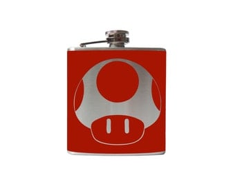 Mushroom Flask- game alcohol, liquor, booze, wedding, bridal party, hip pocket- Personalized Custom - YOU pick COLOR