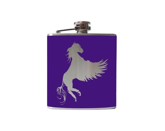 Pegasus FLASK- alcohol, liquor, booze, wedding, bridal party, hip pocket- Personalized Custom - YOU pick COLOR