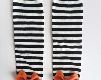 Halloween Baby Leg Warmers Black and White Stripe with Bows