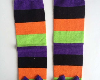 Halloween Baby Leg Warmers Purple, Orange, Lime Green Black Stripe with Bows
