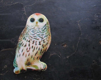 Animal Brooch Owl Woodland Jewelry For Her White Owl Wise Bird Woman Accessory Fashion Statement Pin Snowy Owl Acrylic Wearable Art