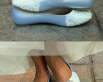Wedding shoes ballet flats low heel vegan bridal shoes embellished with floral ivory French lace and crystal brooch