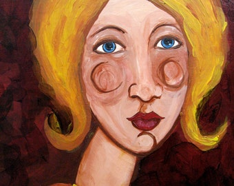 Original Painting - Girl in Yellow - Painting on Wood - Ready To Hang