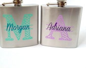 2 flasks, Bridesmaid flask, 6 ounce, stainless steel personalized flask.  Bridesmaid and Maid of honor gift.  Chevron monogram and name