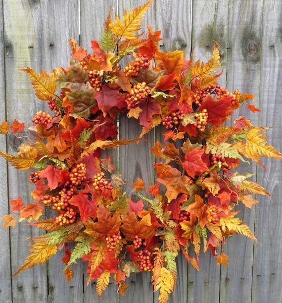 Fall Wreath Fall Door Wreath Autumn Fern Wreath With