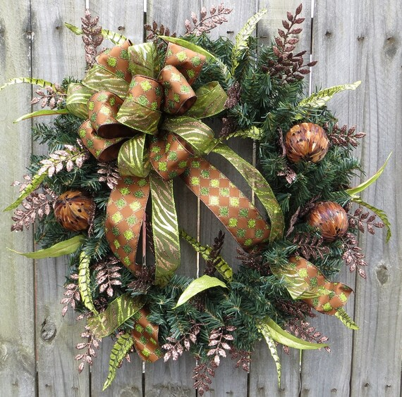 Unique wreath holiday wreaths brown and green christmas - Awesome christmas wreath with homemade style ...