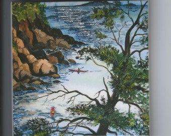 Kayaking Around Presque Isle ceramic tile Marquette,Mi