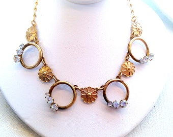 Victorian Gold Floral Embossed & Prong Set Crystal Handmade Chain Necklace