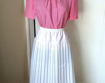 80s Mid-calf Length Pleated Skirt - White- S427-1