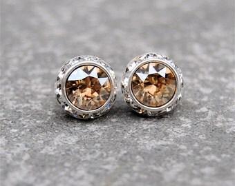 Champagne Diamond Mist Rhinestone Stud Earrings Swarovski Crystal Champagne Diamond Mist Post Dangle Earrings Mashugana