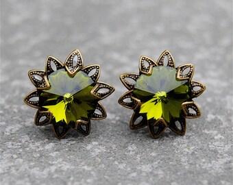 Emerald Green Earrings Swarovski Crystal Green By Mashugana