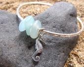 Silver Seahorse Bangle, Aqua Glass, Hammered, Surfer Girl, Hawaii Beach Jewelry, Mermaid Jewelry, Christmas Gift Idea Ocean Lover, Nautical
