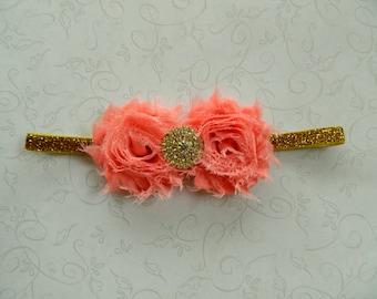 Coral & Gold Headband- newborns, babies, girls, women