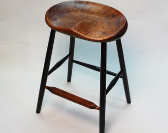 "GARNY - Oval Vintage Tiger Maple Stool 25"" -  for kitchen counter"