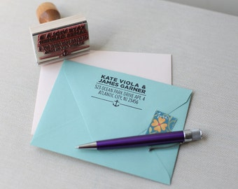 Custom return address stamp NAUTICAL ANCHOR DESIGN with wood handle modern address stamp